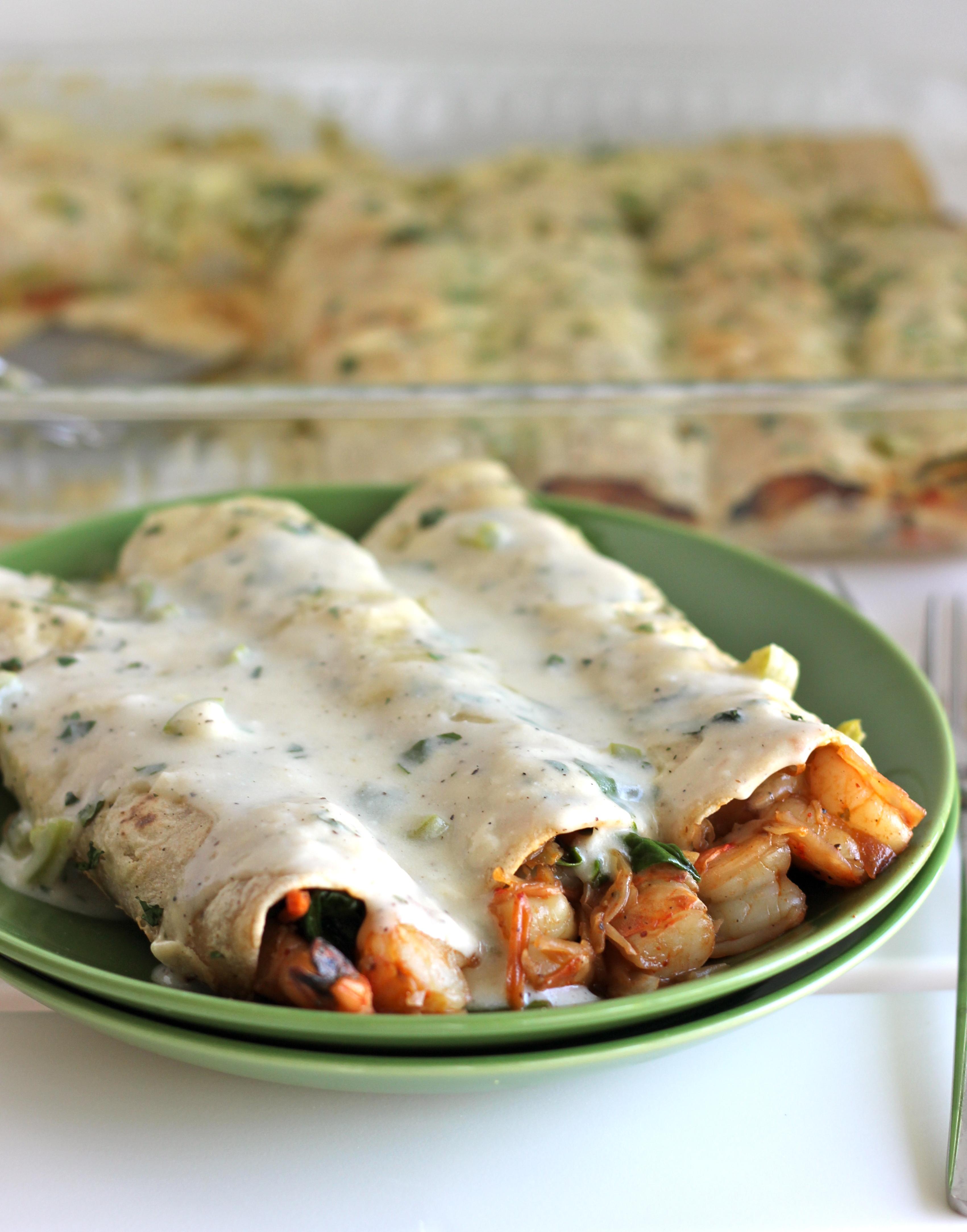 Roasted Shrimp Enchiladas with Jalapeno Cream Sauce | KeepRecipes ...
