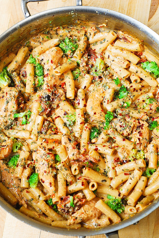 Chicken And Bacon Pasta With Spinach And Tomatoes In