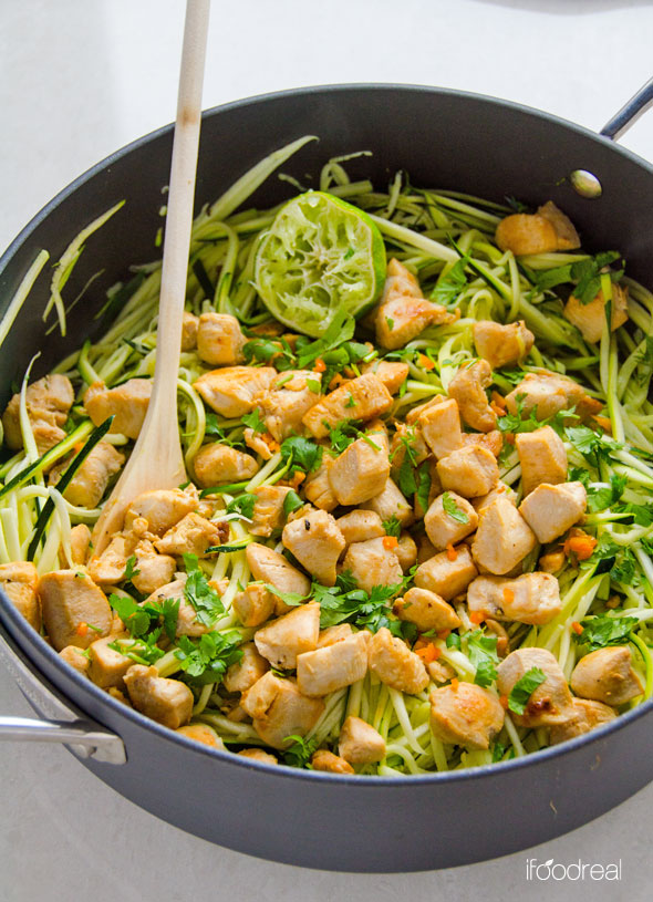 Zucchini Noodles With Cilantro Lime Chicken Keeprecipes Your