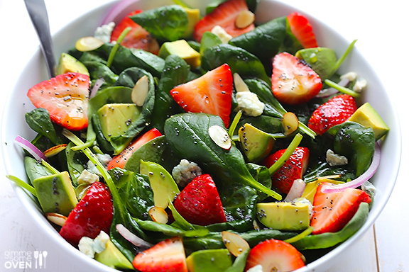 Salads: Avocado Strawberry Spinach Salad with Poppyseed