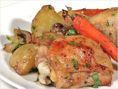 Baked Chicken with New Potatoes, Carrots, and Caramelized Shallots ...