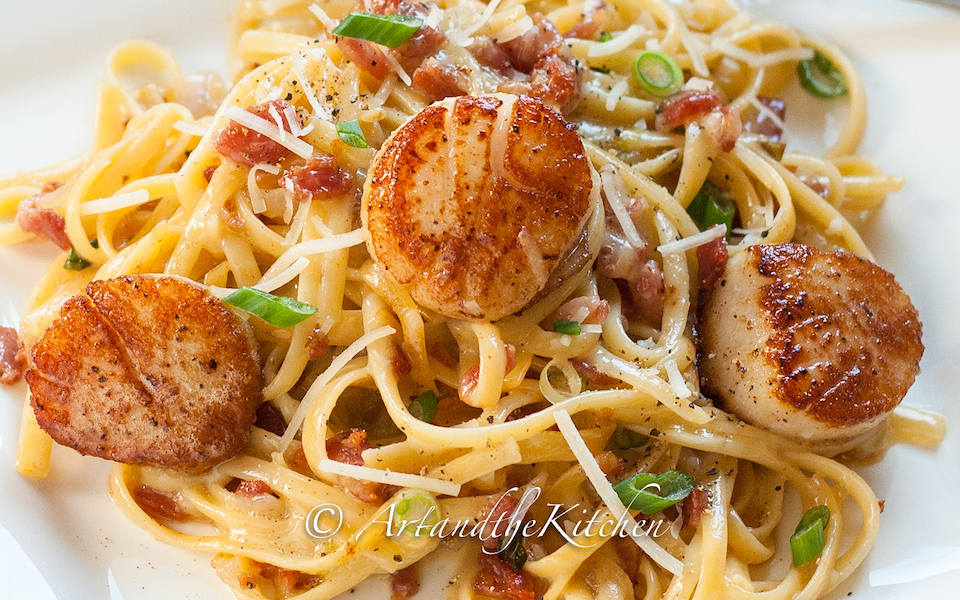 Carbonara With Pan Seared Scallops Keeprecipes Your