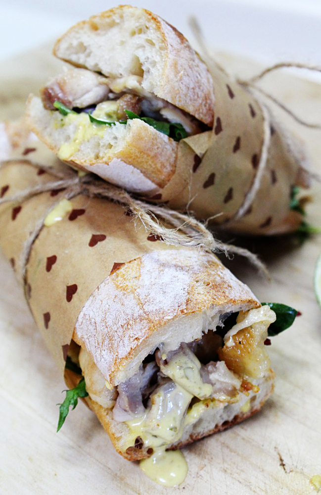 Roasted Chicken Baguette Sandwich With Lime And Thai Green Curry Tartar Sauce Keeprecipes