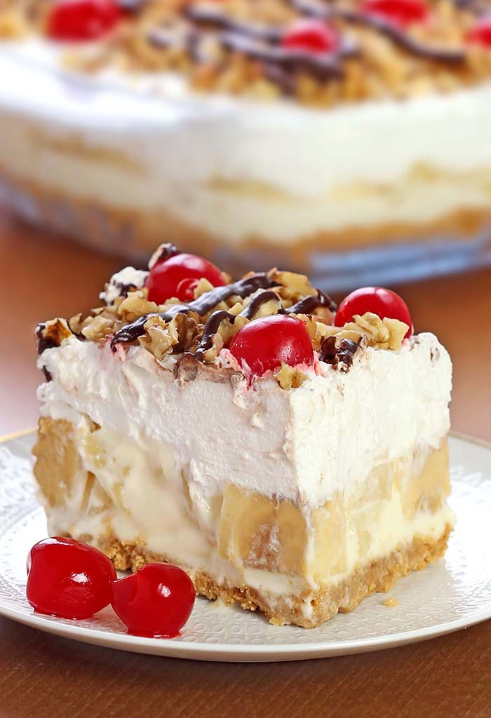 banana split dessert bake recipe keeprecipes box
