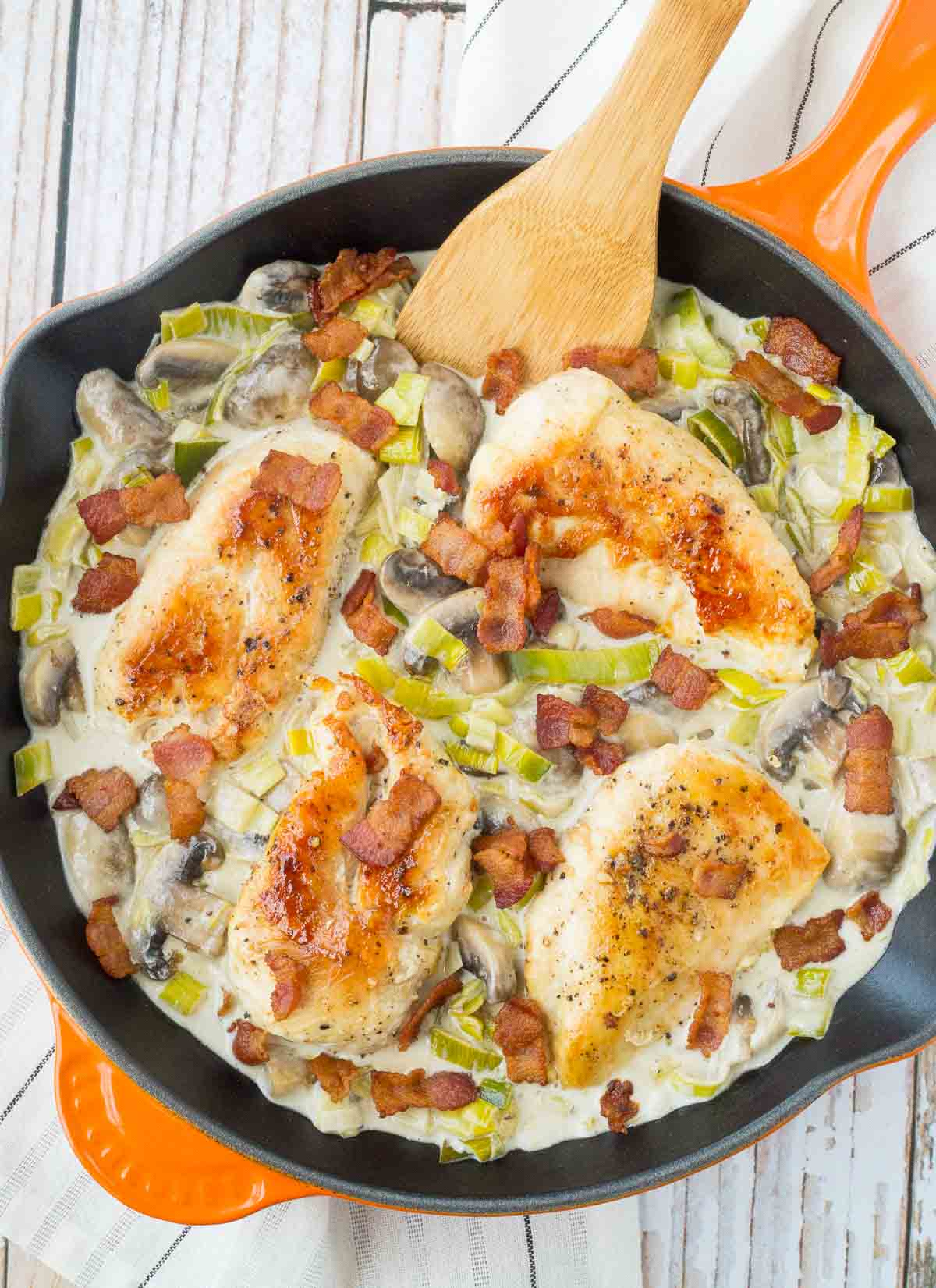 Skillet Chicken with Mushrooms, White Wine, Bacon and Leeks ...
