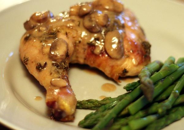 Herbed Chicken Leg Quarters With Mushroom Sauce