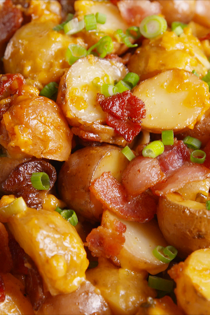 Best Loaded Slow Cooker Potatoes Recipe How To Make Loaded Slow Cooker Potatoes 226 Delish Com