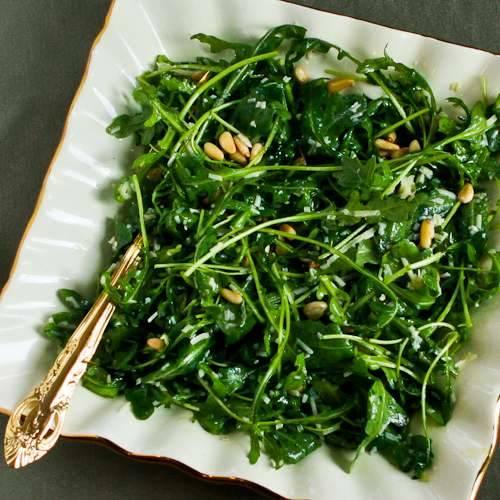 Baby Arugula Salad With Lemon Balsamic Vinegar Parmesan And Pine Nuts Keeprecipes Your