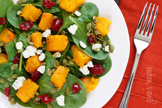 Baby Spinach Salad with Honey Roasted Butternut Squash, Pumpkin Seeds ...