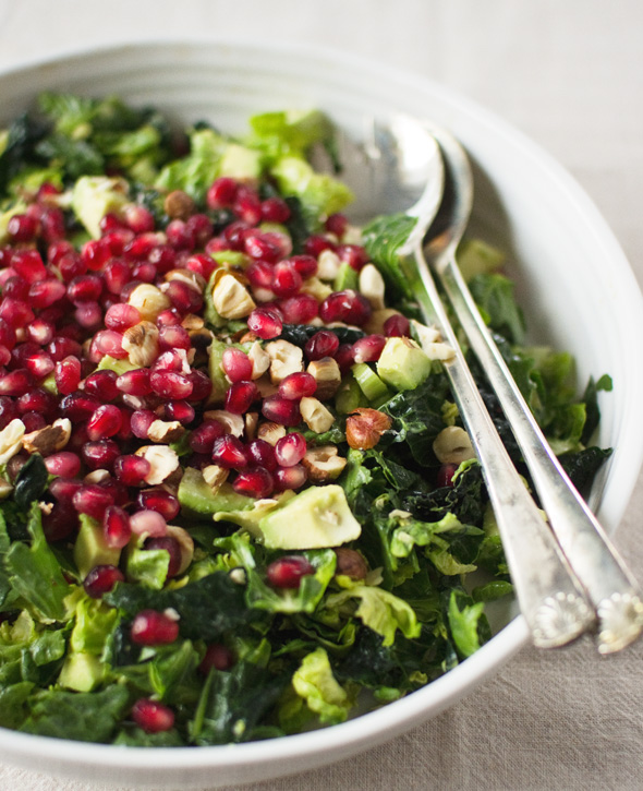 Brussels Sprout Kale Salad with Pomegranate, Hazelnuts & Creamy ...