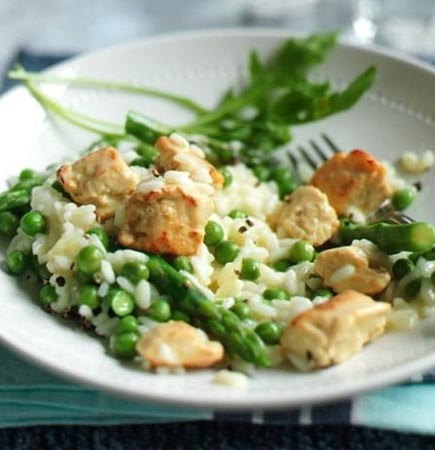 Vegetarian Chicken, Asparagus and Pea Risotto Recipe from ...