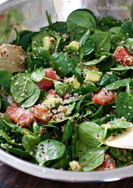 Spinach and Quinoa Salad with Grapefruit and Avocado