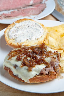 Roast Beef Sandwich with Caramelized Onions and Grainy ...