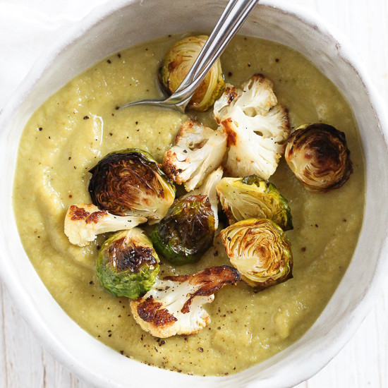 Roasted Brussels Sprouts And Cauliflower Soup