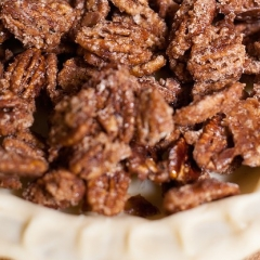 Whiskey Pecan Pie with Quick-Candied Pecans