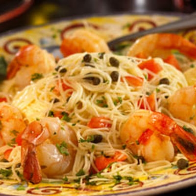 Grilled Shrimp And Scallop Scampi On Angel Hair Pasta Keeprecipes