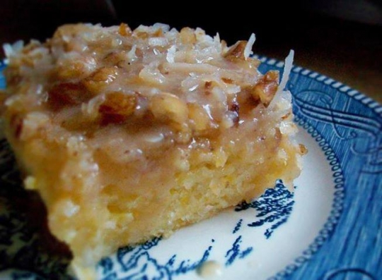 Peach Cake With Coconut Pecan Frosting Keeprecipes Your