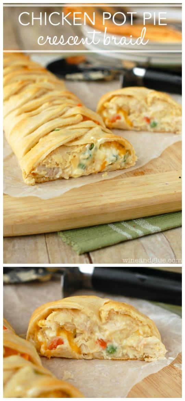 Chicken pot pie crescent braid frozen dough for Pie iron recipes with crescent rolls