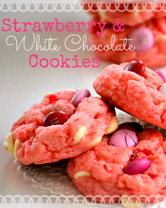 Strawberry And White Chocolate Cake Mix Cookies See Original Recipe At Momontimeout Com