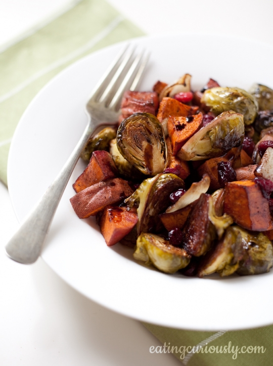 Roasted Brussels Sprouts Sweet Potatoes Amp Cranberries