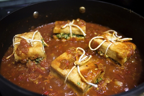 Braised Stuffed Tofu Recipe — Dishmaps