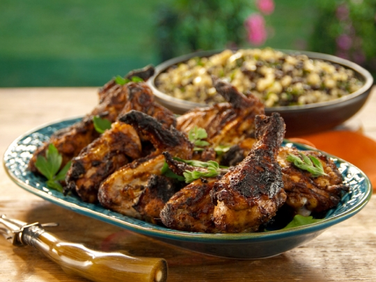 Charcoal grilled chicken sinaloa style with grilled corn black bean see original recipe at foodnetwork forumfinder Choice Image