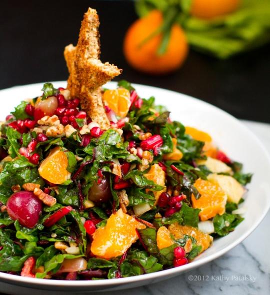 Christmas Salad Recipes.Christmas Tree Salad Pomegranate Pecans Raw Chard