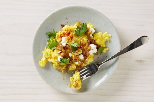 Scrambled Eggs with Caramelized Onions and Chèvre | KeepRecipes: Your ...