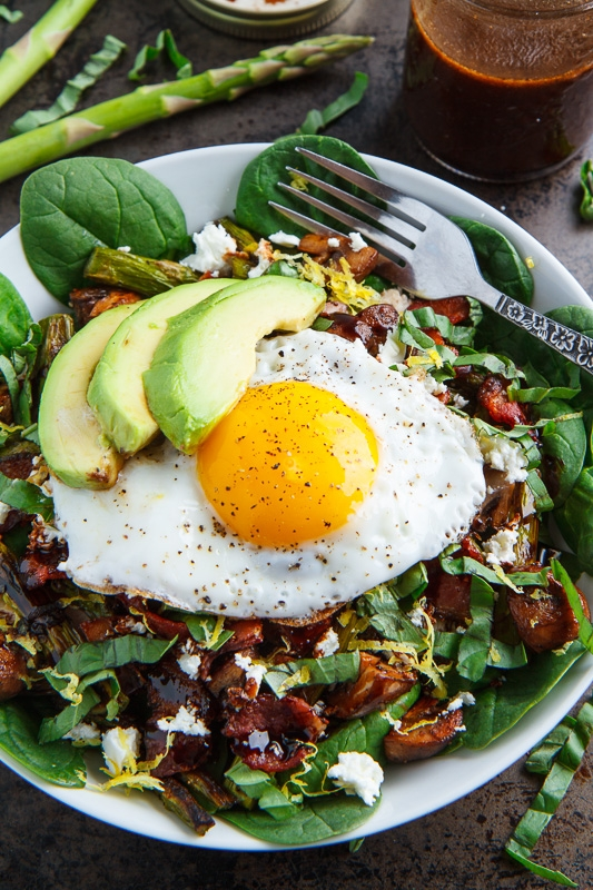 and Mushroom Chicken Spinach Salad with Bacon, Avocado and Goat Cheese ...