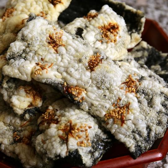 Fried seaweed paper coated with glutinous rice paste gim bugak see original recipe at maangchi ccuart Choice Image