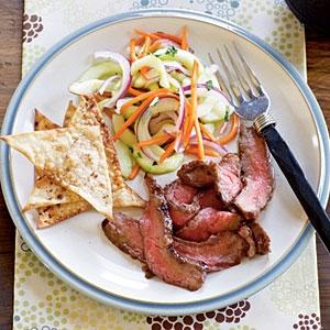 Hoisin Flank Steak with Asian Cucumber Salad Recipe | KeepRecipes ...