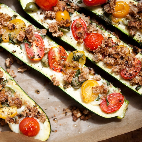 Zucchini Boats with Mozzarella and Olives Recipes from The Kitchn ...