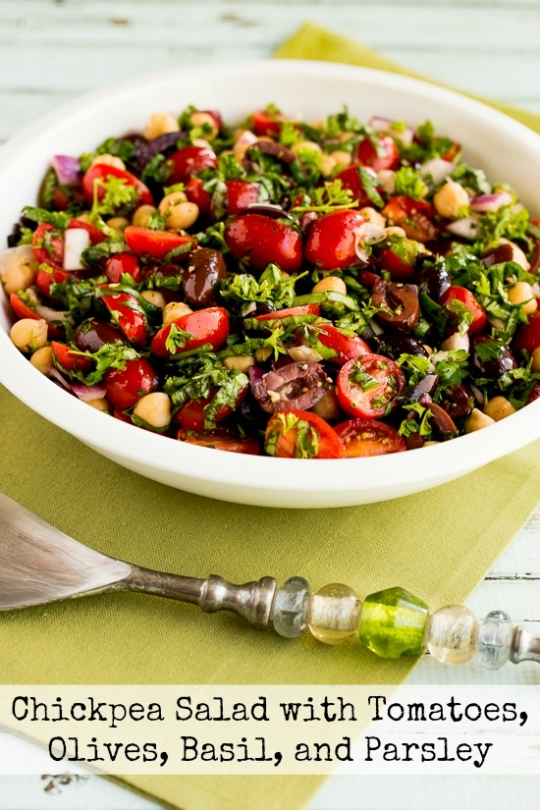 (Garbanzo Bean) Salad with Tomatoes, Olives, Basil, and Parsley ...