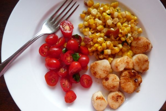 Scallops with Corn Bacon Hash | KeepRecipes: Your Universal Recipe Box