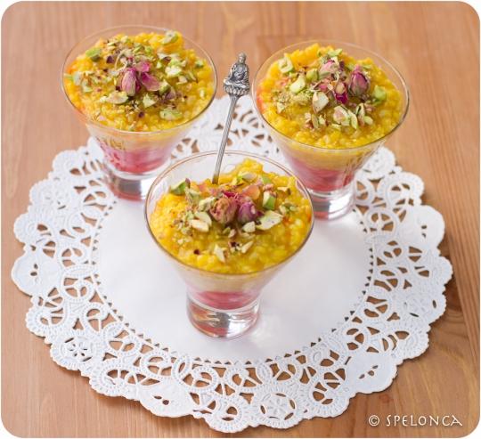 Sholeh Zard (Persian Rice Pudding) with Honey Glazed Rhubarb and ...