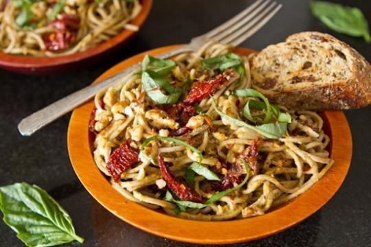 Lightened-Up Sundried Tomato Basil Pesto Pasta | KeepRecipes: Your ...