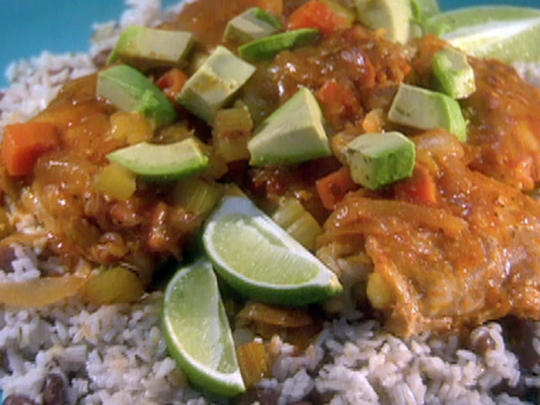 Slow cooker chipotle lime chicken thighs jamaican rice and peas see original recipe at foodnetwork forumfinder Choice Image