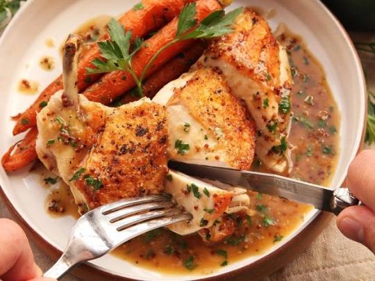 Easy Pan-Roasted Chicken Breasts With Bourbon-Mustard Pan Sauce ...