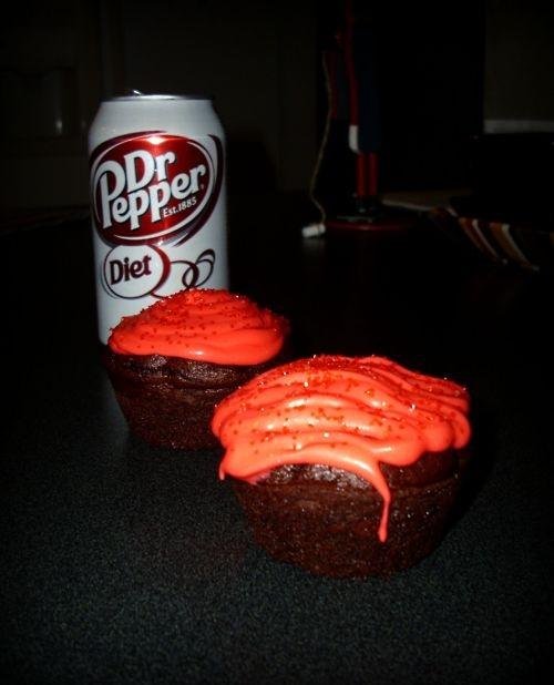 Diet Dr. Pepper Devil's Food Cake Cupcakes