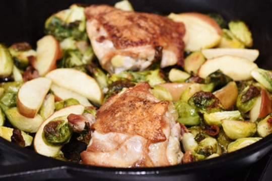 Single skillet chicken thighs with bacon brussels sprouts and easy see original recipe at buzzfeed forumfinder Images