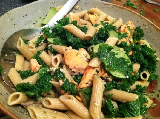 Salmon Pesto Pasta with Mustard Greens | KeepRecipes: Your Universal ...