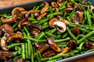 green beans and mushrooms with balsamic