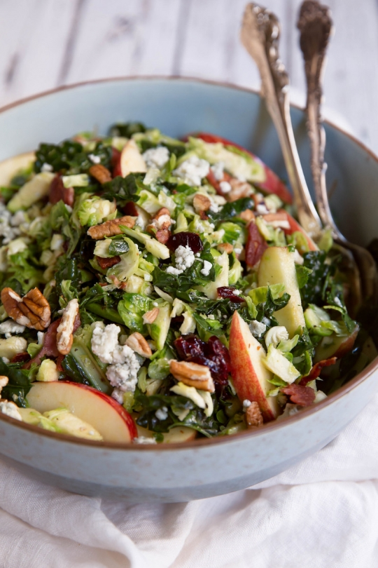 Shredded Brussels Sprouts & Kale Salad with Apple ...