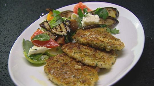 Chicken Schnitzel with Grilled Eggplant and Heirloom Tomato Salad ...
