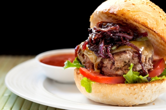 BISON BURGERS WITH CABERNET ONIONS AND WISCONSIN CHEDDAR | KeepRecipes ...