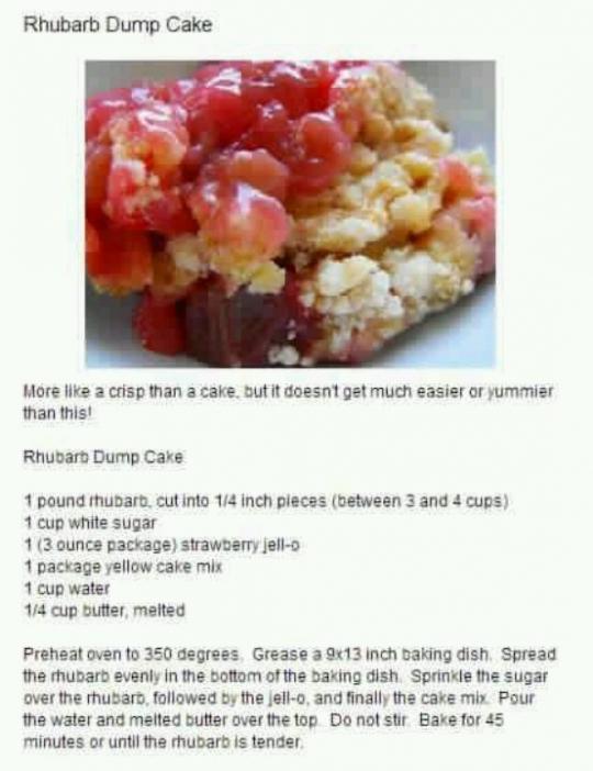 Easy Rhubarb Dessert Cake Mix