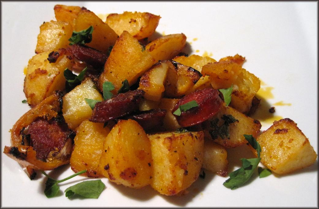 Roasted Garlic Potatoes With Chorizo Lemon Slices