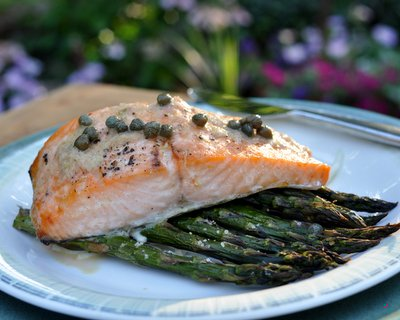Salmon with roasted asparagus and lemon caper sauce recipe salmon with roasted asparagus and lemon caper sauce recipe keeprecipes your universal recipe box ccuart Choice Image