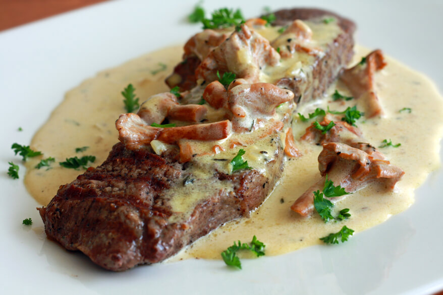 Steak With Mushroom Sherry And Grain Mustard Sauce
